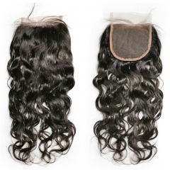 4x4 Lace Closure Water Wave wholesale natural color free part/middle/3part virgin closure
