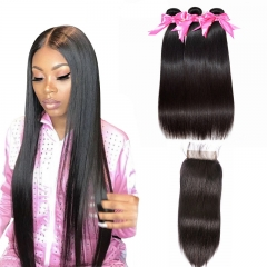 3 Bundles Straight Hair Weft With Lace Closure Transparent Human Hair