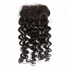 4x4 Lace Closure Deep Wave Curly no acid processing no silicone best selling bleached knots 100% virgin