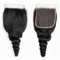 4x4 Lace Closures Loose Wave bleached knots can be dyed no shedding top quality