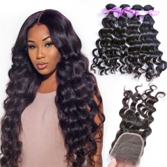 4 Bundles Natural Wave Wavy Hair Weft With Lace Closure Natural Black Color No Chemical