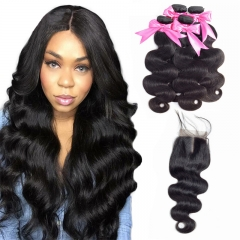 4 Bundles Body Wave Hair Extensions With Lace Closure sew In weave natural raw hair bundles