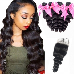 4 Bundles Loose Wave Hair Weft With Lace Closure natural black Hot new hair products