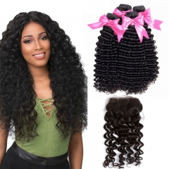 4 Bundles Deep Wave/Curly Hair Weft With Lace Closure cheap remy human hair