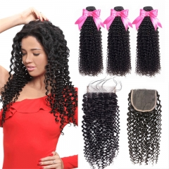 3 Bundles Kinky Curly Hair Weft With Lace Closure No Tangle No Shedding Human Hair