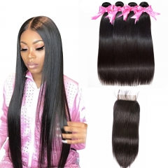 4 Bundles Straight Hair Weft With Lace Closure Natural Black Color No Chemical