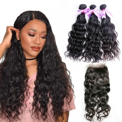3 Bundles Water Wave Hair Weft With Lace Closure Natural Beautiful Soft New Arrival Can Be Dyed Hair Extensions