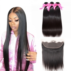 3 Bundles Straight Hair Weft With 13x4 Lace Frontal With Baby Hair Full and thick