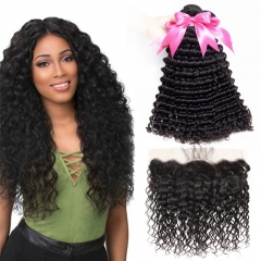 3 Bundles Deep Wave/Curly Hair Extensions With 13x4 Lace Frontal with baby hair