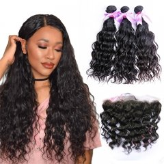 3 Bundles Water Wave Hair Weft With 13x4 Lace Frontal