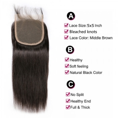 5x5 Straight Lace Closure Virgin Hair Medium Brown Lace Pre Plucked Hairline Swiss Lace