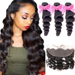 3 Bundles Loose Wave Hair Weft With 13x4 Lace Frontal