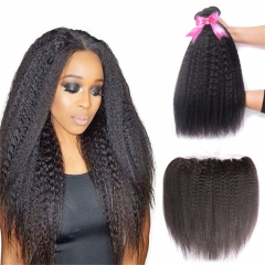 3 Bundles Kinky Straight Hair Weft With 13x4 Lace Frontal
