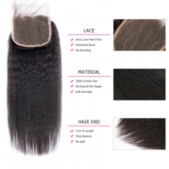 5x5 Kinky Straight Lace Closure Virgin Hair Pre Plucked Hairline Human Hair Bleached Knots