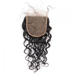 5x5 Natural Wave/Wavy Lace Closure Swiss Lace Pre Plucked Hairline No Shedding No Tangle Natural Headline