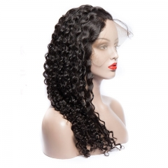 Deep Wave Curly 360 Lace Front Wig 180% Density Natural Color Hand Tied Black Color Glueless