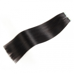 40 Pieces Natural Color Tape In Hair Extensions #1B Human Hair Remy Colored Extensions 100g 40Pcs