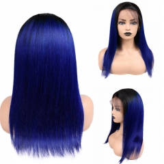 Straight 1B Navy Blue Root Lace Front Wig Average Size Suitable Dying Colors Natural Headline No Shedding No Tangle