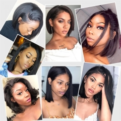 Straight 150% Density Bob Lace Front Wig Natural Color  Pre Plucked Hairline