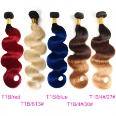 3 Bundles T1B/4#/27# T1B/Red 100% Human Hair T1B/Blue T1B/613 T1B/4#/30# 2019 Hair Color Trends