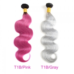 3 Bundles Black To Pink Ombre Short Hair Grey Body Wave Human Hair
