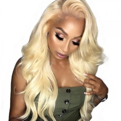 613 Body Wave 360 Frontal Blond Color Human Hair Pre Plucked Hairline Hand Tied