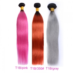 3 Bundles Straight T1B-Pink/T1B-350#/T1B/Gray Ombre Braiding Hair Gray Hair Dye Pink Hair Color