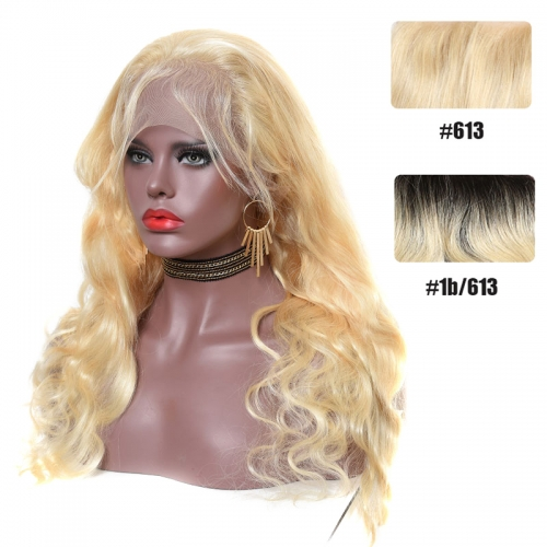 Color Full Lace Wig BodyWave 613#/T1B  Blonde Dark Root Color Wig