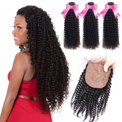 3 Bundles Kinky Curly Virgin Hair And Silk Base Closure With Baby Hair