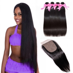 Straight Silk Base Closure With 4 Bundles Hair Weave Natural Black Color No Chemical