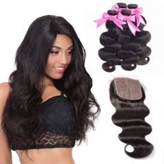 4 Bundles Natural Black Color Body Wave With 4x4 Inches Silk Base Closure