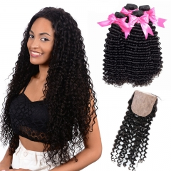 4 Bundles Curly Hair Weave With Deep Wave Silk Base Closure Transparent Lace