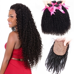 4 Bundles Kinky Curly Hair With Afro Hair Style Silk Base Closure 4x4 Inches