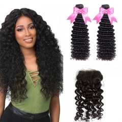 2 Bundles Deep Wave / Curly Hair Weft With Top Quality Lace Closure