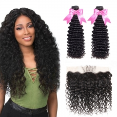 2 Bundles Deep Wave Loose Curly Hair Weft With 13x4 Lace Frontal