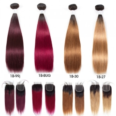 3 Bundles Ombre Color Straight Hair Weft With Two-Tone Lace Closure