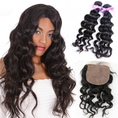 2 Bundles With Silk Base Lace Closure With Baby Hair Wavy Cheap Virgin Hair Weft