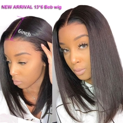 New Arrival 13*6 Straight 150% Density Bob Lace Front Wig  Middle Part Natural Color Pre Plucked Hairline With Baby Hair