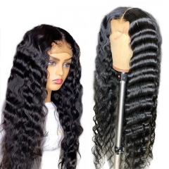 Cheap New Style 13x4 Inches Deep Wave Natural Curly HD Transparent Full Lace Human Hair Wigs